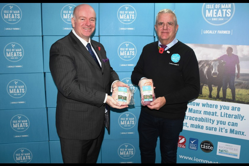 Celebrating the launch of Isle of Man Meats' partnership with Tesco are (left to right) Chief Minister Howard Quayle MHK; and Phil Parsons, Plant Director at Isle of Man Meats.