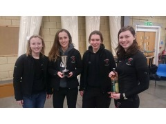 Cambridge University's victorious Ladies Team holding the Bentata Trophy.  left to right: Sayers, Mason, Fisher, Nuttall.