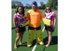 JP ready to do his thing in goal with Kim & Hayles