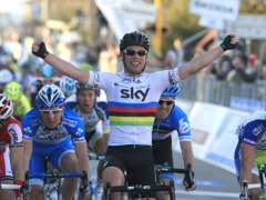 Mark Cavendish crossing the finish line (picture courtesy of Team Sky)