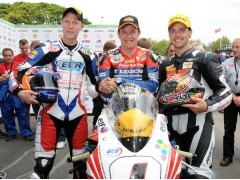 Cameron Donald (right) was on the podium at TT 2011 in the Superbike race